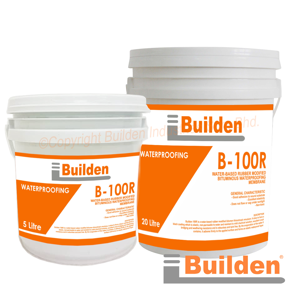Builden B-100R: Water-Based Rubber Bituminous Waterproofing Membrane